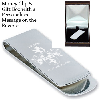 Money Clip - Coat of Arms / Family Crest Free engraved message on the