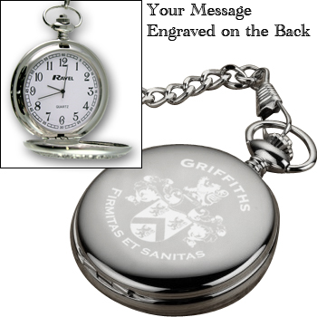 Coat of Arms Family Crest Surname Engraved Pocket Watch on eBay (end time
